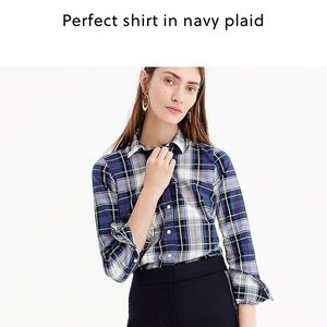 J. Crew perfect shirt in navy plaid